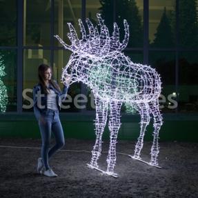 Новогодняя световая фигура 3D 'Лось', высота 2.4 метра