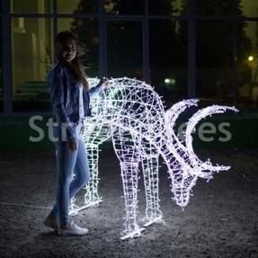 Новогодняя световая фигура 3D олень «Рудольф», высота 1.2 метра