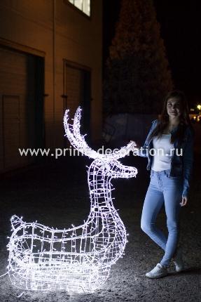Новогодняя световая фигура 3D олень «Купидон», высота 1.7 метра