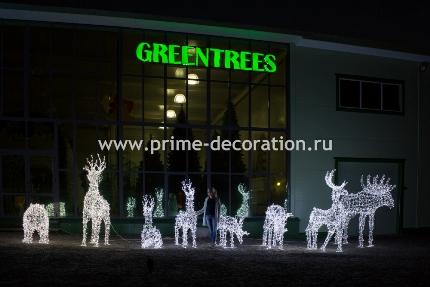 Новогодняя световая фигура 3D Большой «Рождественский экипаж» из 4-х световых оленей